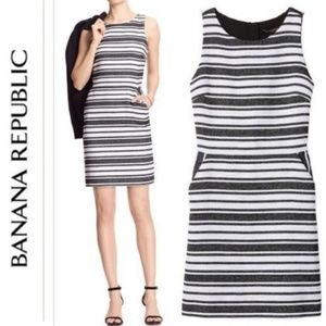 Banana Republic Tweed Striped Open Back Dress